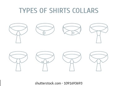 Male Shirt Collars Different Types Icons Set on a Background Thin Line Design Style. Vector illustration of Collar Type