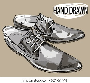 Male shoes. Drawing by hand in vintage style. Stylish men's shoes.