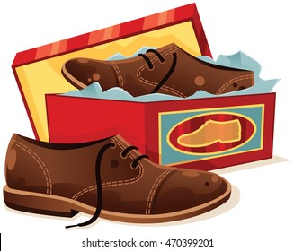 Male shoes and shoe box.