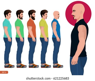 Male side pose, Character side pose vector illustration. Male man youth young boy standing face