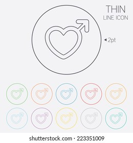 Male sign icon. Male sex heart button. Thin line circle web icons with outline. Vector