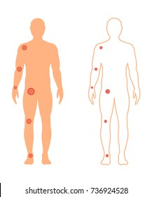 Male silhouette (contour) in full growth with a painful joints. Vector illustration.
