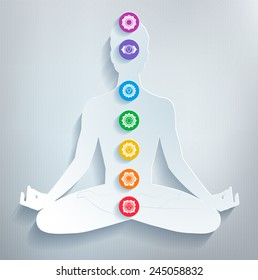 Male silhouette. Meditation and chakras. Vector illustration.