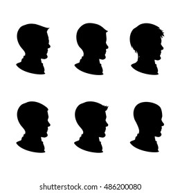 Male silhouette in profile, isolated on white background ,cartoon vector illustration