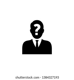 Male silhouette profile picture with question mark on the head - vector