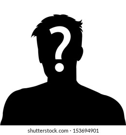 Male silhouette  with question mark on the head - suspect concept