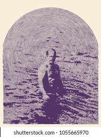 Male silhouette in the sea. Man in the water. Halftone Drawing Style Vector Illustration