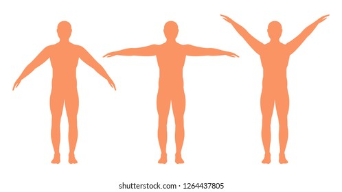 Male silhouette with a sports figure in full growth, isolated on a white background. Vector illustration. man with arms spread out in different directions.