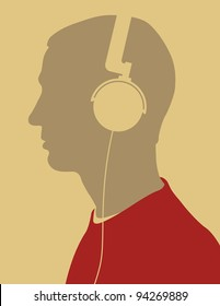 Male silhouette wearing headphones