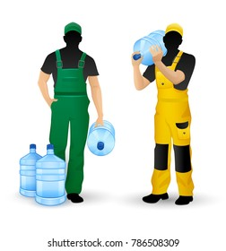 Male silhouettes working men delivery of drinking water in full plastic bottles, isolated white background. Eps10 vector illustration.