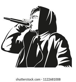 Male singer vectro illustration. Rock vocalist vector. Black and white musician illustration