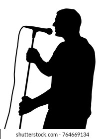 Male singing silhouette