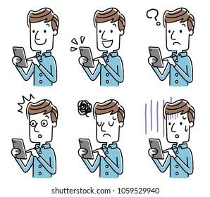 Male: Smartphone, set, variation