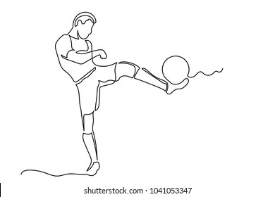 A male soccer player in shorts kicks the ball. One line drawing isolated vector object by hand on a white background.