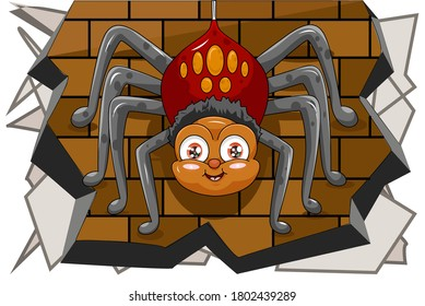 A male spider cute hanging on the wall, design animal cartoon vector illustration