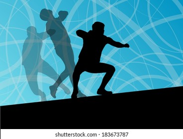 Male sport athletics. ball throwing silhouettes collection. abstract illustration, background vector