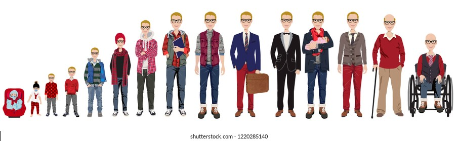 Male stages of growth in Christmas outfits. Including baby,  child,  teenager,  adult, college student, business man, casual man, groom,  dad with baby, an elderly man, grandfather in wheelchair.
