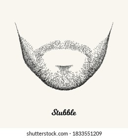 Male stubble. Simple linear Illustration with fashionable men hairstyle. Contour vector background with isolated element for barber shop decor, prints, t-shirts, posters