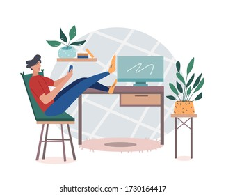 A male student or freelance worker sitting at home scrolling the phone putting her feet on the table with a computer. Typing a message or surfing the net on the cellphone. Vector illustration