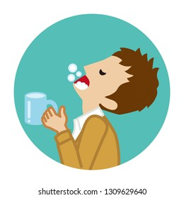 Male student gargling with water for prevent cold - Circular icon