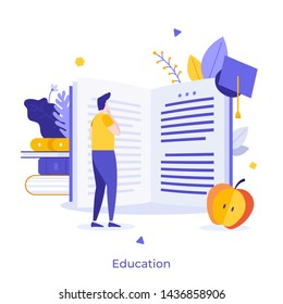 Male student standing in front of giant open book and reading. Creative concept of university education, school learning, obtaining academic degree. Flat cartoon colorful vector illustration.