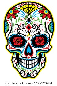 Male Sugar Skull with spider web pattern.