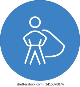 Male Superhero Outline Vector Icon