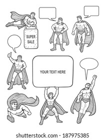 Male superhero sketches with speech bubbles comic style. You can use any design you want. Easy to use, edit, or change color.