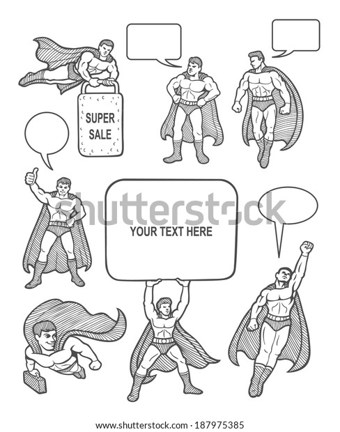 bffac914cb7 Male superhero sketches with speech bubbles comic style. You can use any  design you want