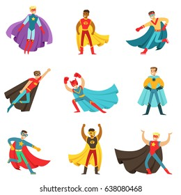 Male Superheroes In Classic Comics Costumes With Capes Set Of Smiling Flat Cartoon Characters With Super Powers