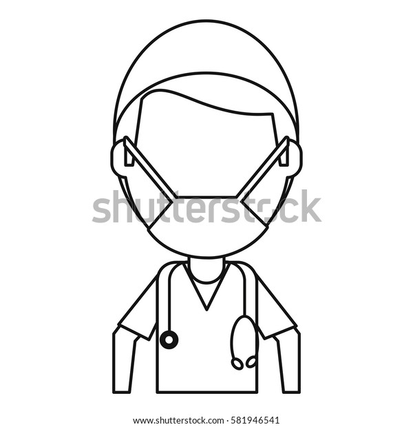 male surgeon medical professional thin line