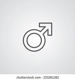 male symbol outline thin symbol, dark on white background, logo editable, creative template