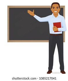 Male teacher at blackboard with copy space showing vector illustration
