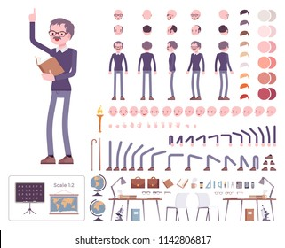 Male teacher character creation set. School, universirty or college profi worker. Full length, different views, emotions, gestures. Build your own design. Cartoon flat style infographic illustration