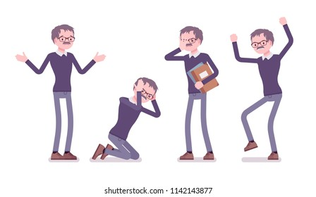 Male teacher negative emotions. School, universirty or college worker, at lesson for students. Professional education and learning. Vector flat style cartoon illustration isolated on white background