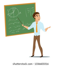 Male teacher shows something on blackboard. Cartoon character on white background.