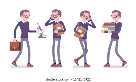 Male teacher at work. School, universirty or college worker, at lesson for students. Professional education and learning concept. Vector flat style cartoon illustration isolated on white background