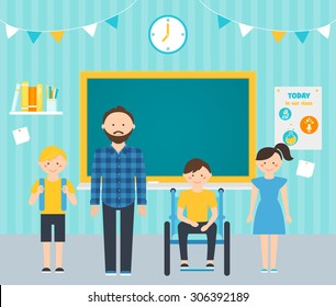 Male Teacher with Young Students in Classroom. Including Students with Special Needs Concept