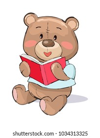 Male teddy-bear reading red book vector illustration of stuffed bear toy with pink cheeks isolated on white background, present for Valentines Day