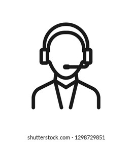 male telephone dispatcher. minimal thin line web icon. simple vector illustration outline. concept for infographic, website or app