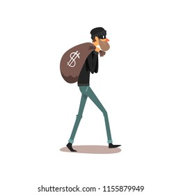 Male thief carrying money bag, robber cartoon character committing crime vector Illustration on a white background