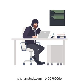 Male thief or hacker wearing black clothes, sitting at desk, hacking computer and stealing personal information. Cyber criminal, internet or online crime. Flat cartoon colorful vector illustration.