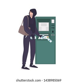 Male thief stealing money banknotes from ATM. Young angry man in hoodie committing crime. Theft or burglary in bank. Thief, burglar, criminal or outlaw. Flat cartoon colorful vector illustration.