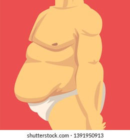 Male Torso with Fat Belly, Side View, Obesity and Unhealthy Eating Problems Vector Illustration