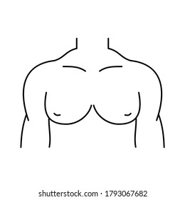 Male torso line icon. Man's chest icon. Upper body pectoral muscles exercise. Human body anatomy. Pecs, biceps, triceps workout. Black outline on white background. Vector illustration, flat, clip art