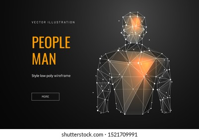Male torso low poly landing page template. Anatomy science web banner. 3d human polygonal illustration. Brain activity, heart work, impulses and nerve points art homepage design layout