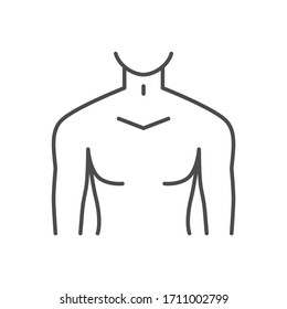 Male torso related vector thin line icon. Isolated on white background. Editable stroke. Vector illustration.