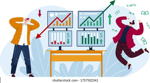 Male trader lose money stock market exchange, investor man earning money isolated on white, cartoon vector illustration. Global share burse analysis, happy and sad person financial crisis.