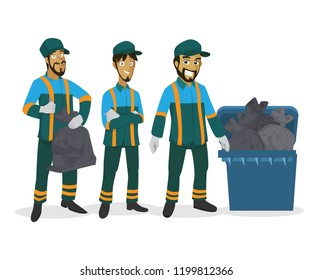 male trash collectors character illustration