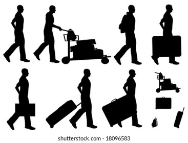 Male Traveler Silhouette Vectors